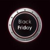 Black friday plasma background with metallic design — Stock Vector