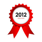 Special label with red ribbons - best of 2012 sign — Stock Vector