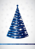 Stylized blue ribbon Christmas tree — Stock Vector