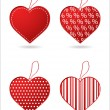 Set of four red hearts with special design — Vettoriali Stock