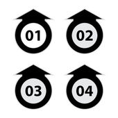 Arrow labels with numbers, black-white vector illustration — Stock Vector