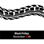 Special black friday banner with tire design — Stock Vector