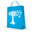 Shopping bag with special butterfly design — Stock Vector