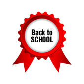 Back to school badge with red ribbons — Stock Vector