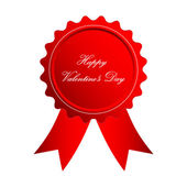 Valentines Day badge with special red ribbons — Vector de stock