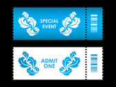 Admit one ticket with special flower design — Stock Vector
