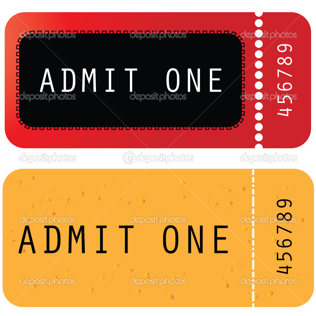 Admit One Circus Ticket Template Red - yellow ticket - admit