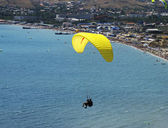 Flight on a paraglide with instructor — Stock Photo