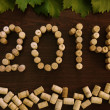 Inscription 2014 laid out the wine corks — Stock Photo #35883165