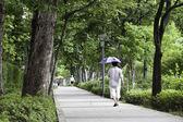 Caminando con paraguas para la cortina. — Foto de Stock