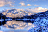 Snowy mountain landscape. — Stock Photo