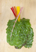 Stacked rainbow chard leaves. — Stock Photo
