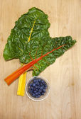 Chard and dish of blueberries. — ストック写真