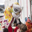 Stock Photo: Lion dance and the crowd.