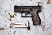 Overview of pistol and ammo. — Stock Photo