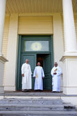 Jesuit priests at Cataldo mission. — Stock Photo