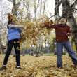 Getting smeared in leaf fight. — Stock Photo