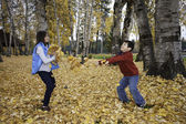 Throwing leaves. — Stock Photo