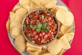 Closeup of salsa and chips. — Stock Photo
