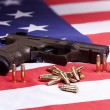 Stock Photo: Pistol and ammo on flag.