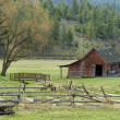 Old wood fence and barn. — Stock Photo