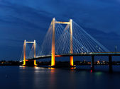 Cable bridge in the evening. — Stock Photo