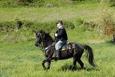 Union calvary reenactor on horse. — Stock Photo