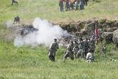 Reconstitution armée confédérée au combat simulé. — Photo