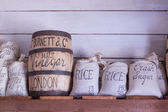 Vintage food bags on display. — Stock Photo