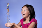 Concept of girl diving from hands. — Stock Photo