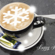 Coffee cup with snowflake shape — Stock Photo