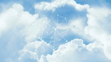 Network through clouds in the blue sky. — Stockvideo