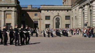 Swedish Royal Palace Stockholm Guard Change. — Stock Video