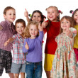 Group of children with thumbs up sign — Foto Stock