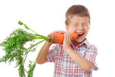 Little boy biting the carrot — Stock Photo