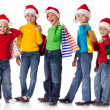 Foto Stock: Group of happy kids with christmas gifts
