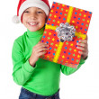 Smiling boy with gift box — Stock Photo
