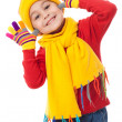 Stock Photo: Funny girl in winter clothes