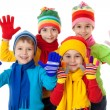 Group of kids in winter clothes — Stock Photo #14098037