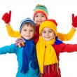 Group of kids in winter clothes and ok sign - Stock Photo