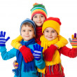 Group of three kids in winter clothes - Stock Photo