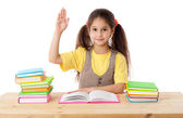 Girl with books and raises his hand up — Stock Photo