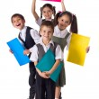 Smiling kids standing with folders — Foto Stock