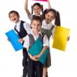 lächelnd Kinder stehen mit Ordnern — Stockfoto