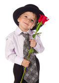 Little boy with red rose — Stock Photo