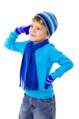 Thoughtful boy in winter clothes — Stock Photo