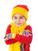 Smiling girl in winter clothes — Stock fotografie