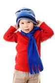маленький мальчик в зимней одежде — Стоковое фото