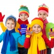 Group of kids in winter clothes — Stock Photo