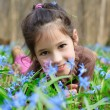 Girl among the bluebells — Stock Photo